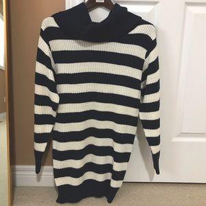 Striped turtleneck sweater dress